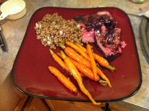 Roast Beef with Lentil Salad and Lemon Glazed Carrots