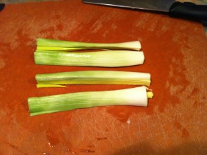 "I like to quarter the leek then slice it into 1/4"" slices."
